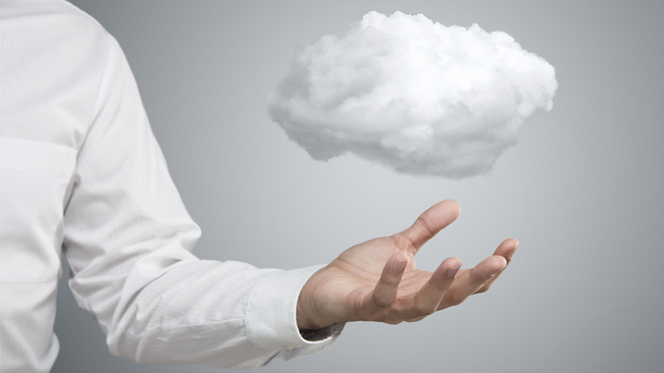 close-up of young businessman with cloud over his hand