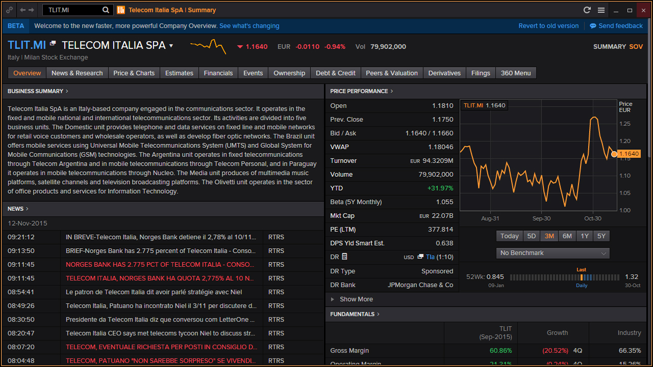 Screenshot of Eikon single equity