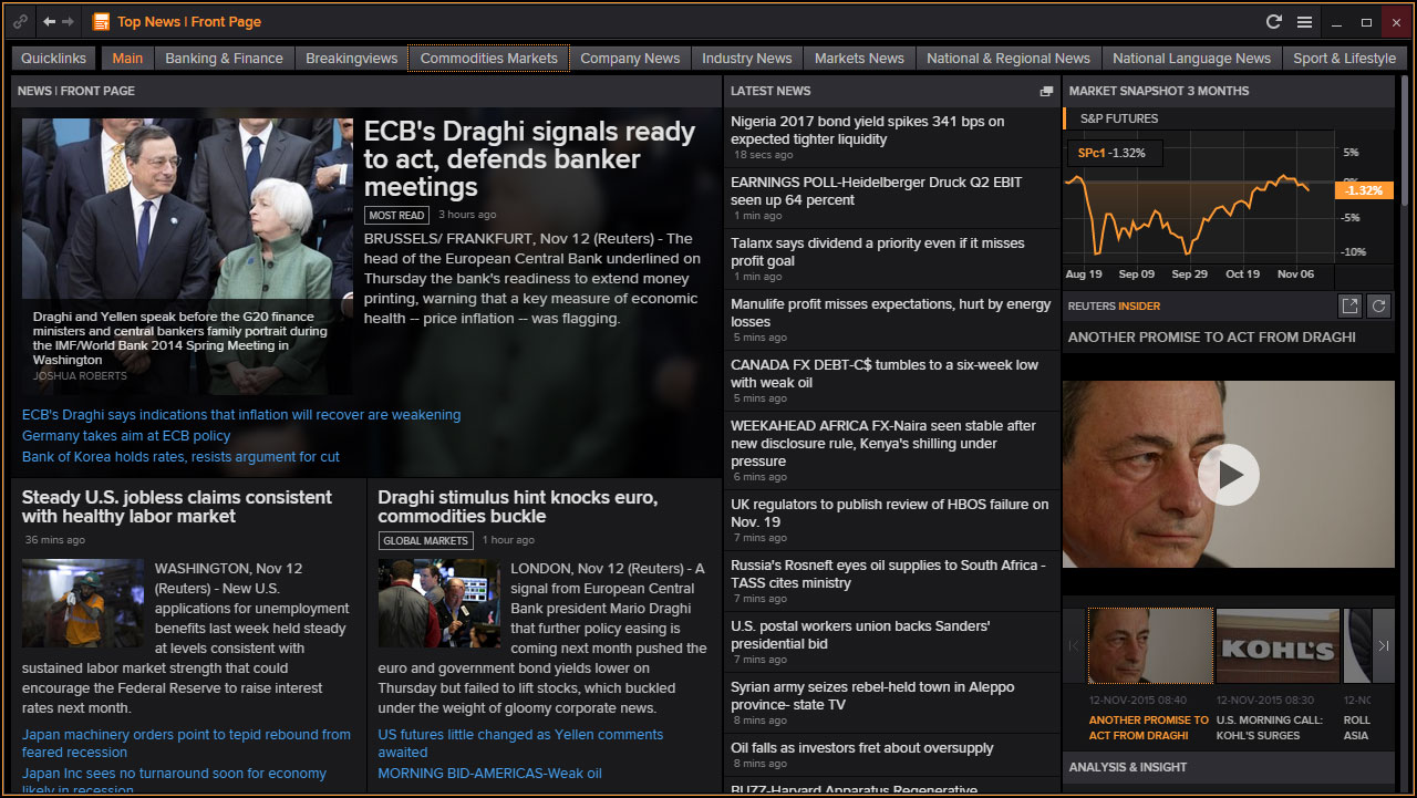 Screenshot of the Eikon homepage
